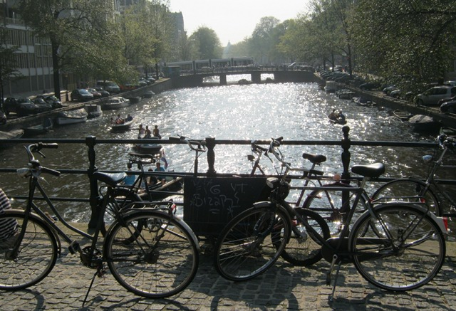 Singel canal with bikes, Amsterdam