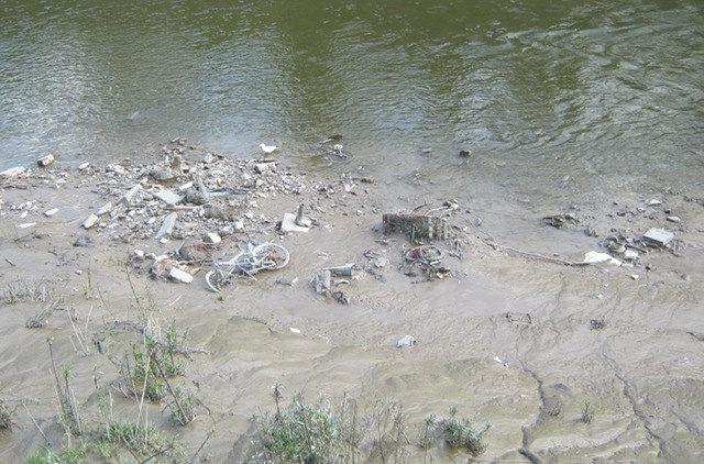 River mud and debris
