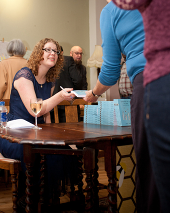 Judy signing copies of Remember Me To The Bees1