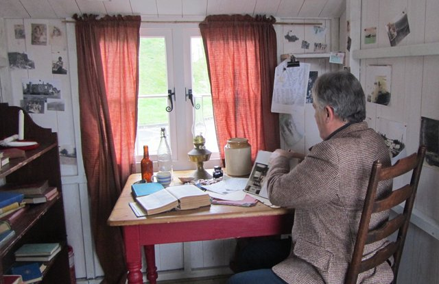 teacher in Dylan's writing shed