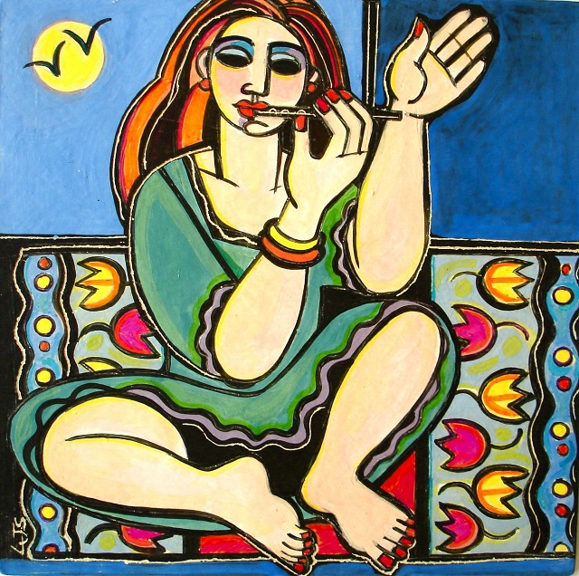 Flute Player 2 ceramic tile painting cr Linda Samson