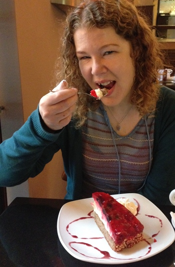 Judy eating cake at Anna Cafe cr James Hainsworth