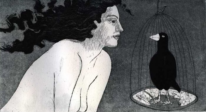 Bird Girl Etching by Laura Robertson