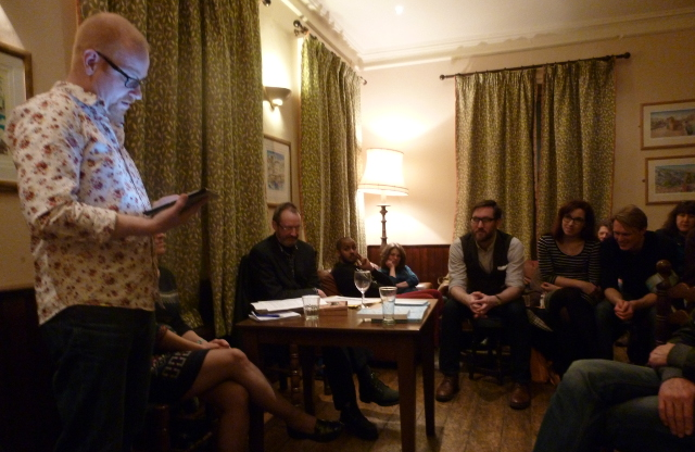 Ken Elkes reading at Novel Nights in March 2015