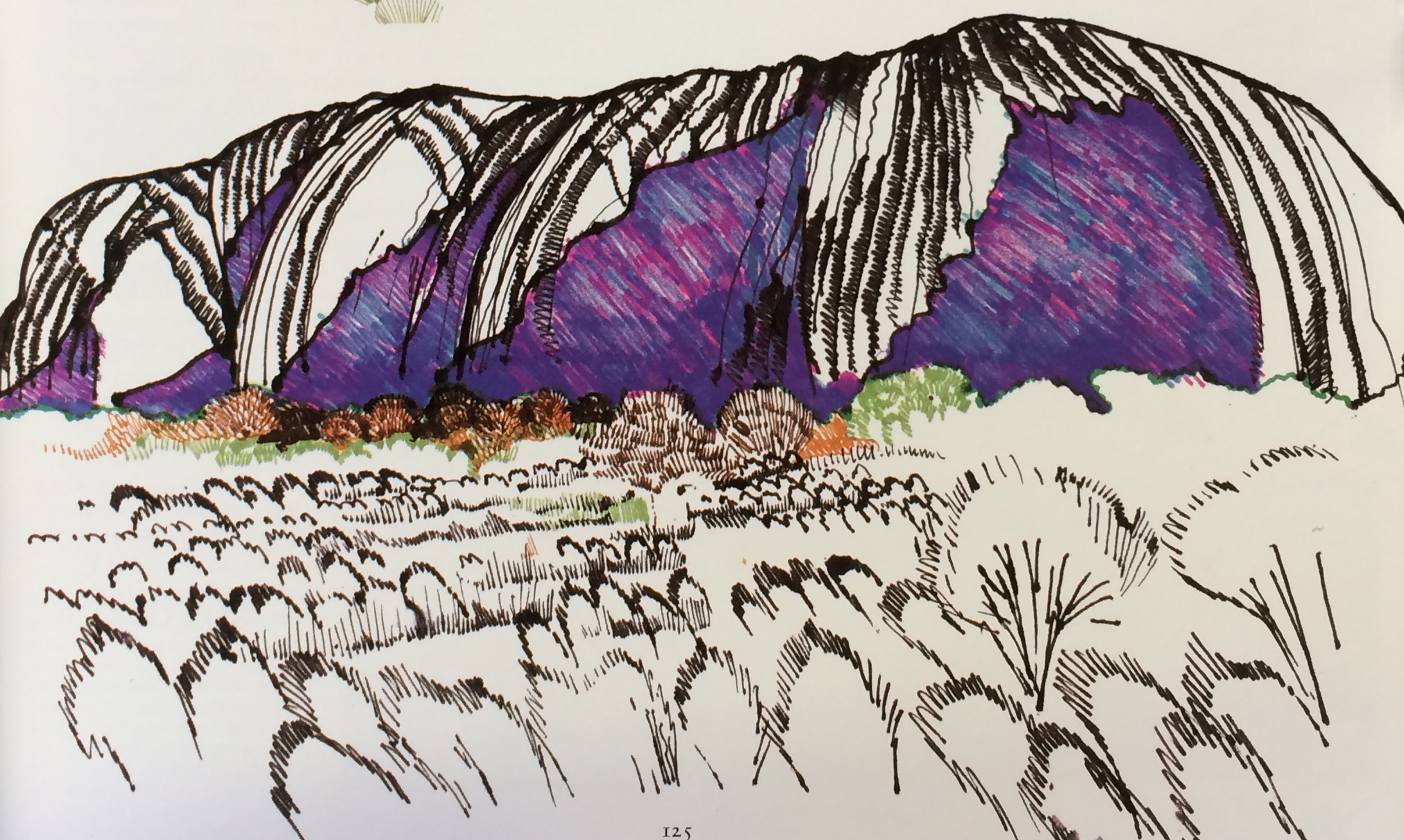 Zandra Rhodes Ayers Rock sketches from 1973