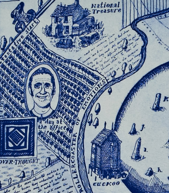 Map of Days by Grayson Perry, detail showing Bradley Wiggins