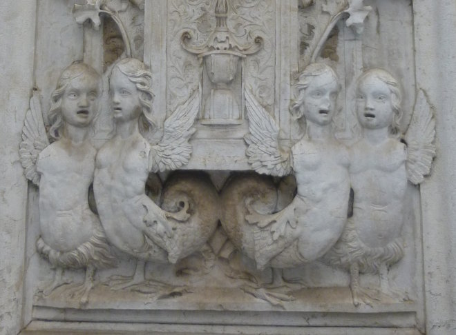 Santa Maria dei Miricoli mermaid carvings