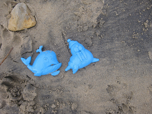 Plastic toys washed up after a storm cr Glenda Young