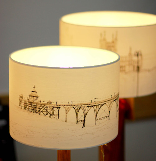 Clevedon Pier lampshade by Lisa Malyon