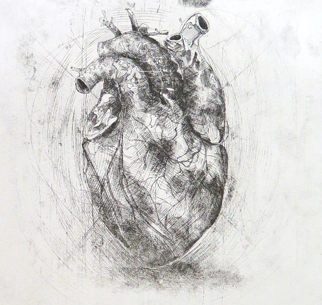 Heart etching by Rosie McLay
