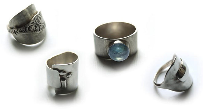 Rings made from antique siler by Cher Platt
