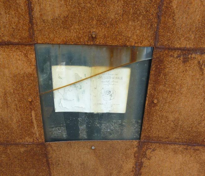 Hay-on-Wye book pyramid by Judy Darley