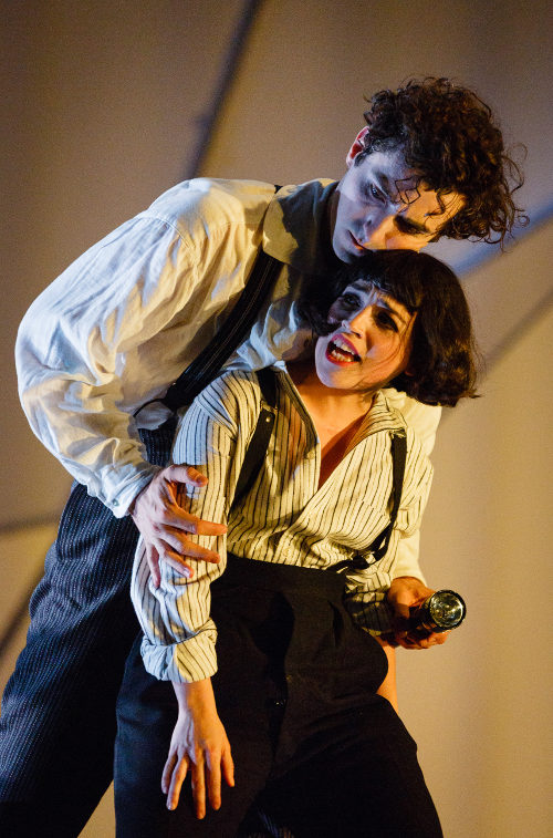 Marc Antolin as Marc Chagall and Audrey Brisson as Bella Chagall in The Flying Lovers of Vitebsk - Photo by Steve Tanner