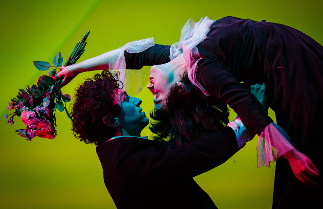 Marc Antolin as Marc Chagall and Audrey Brisson as Bella Chagall in The Flying Lovers of Vitebsk_credit Steve Tanner