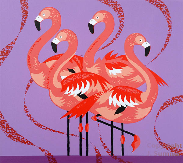 Flamingo Fandango screenprint by Josephine Sumner
