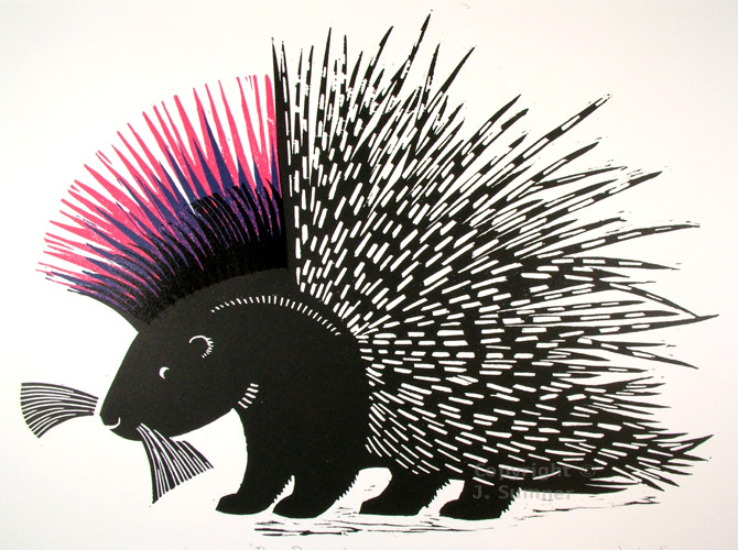 Punky Porcupine woodcut by Josephine Sumner