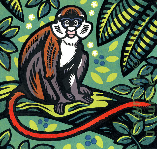 Red-tailed Monkey mulitblock linocut by Josephine Sumner