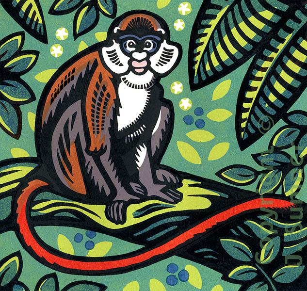 Red-tailed Monkey mulitblock linocut by Josephine Sumner