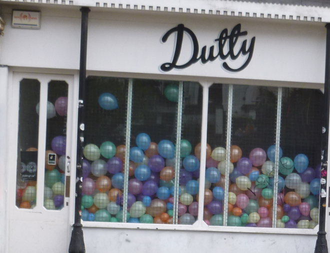 Shop window full of balloons
