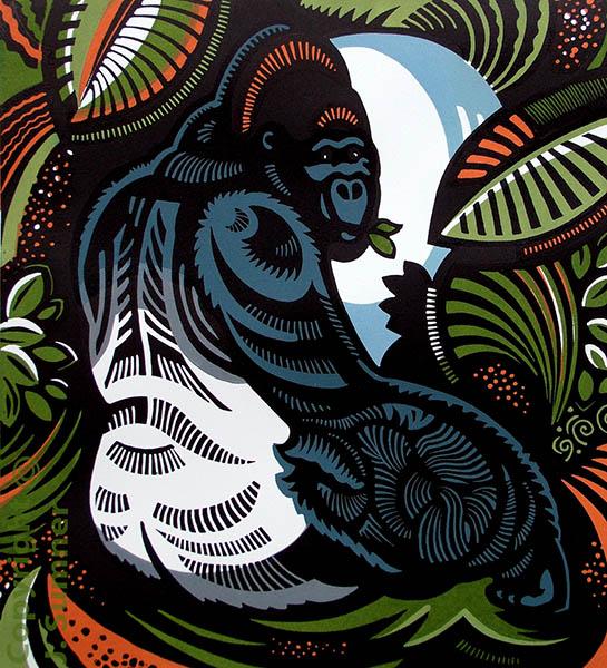 Silverback mulitblock linocut by Josephine Sumner
