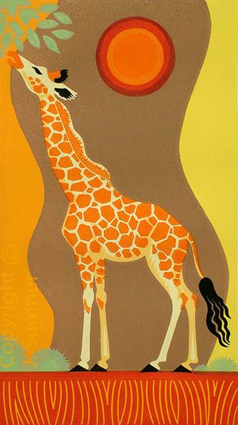 Sunset Giraffe mulitblock linocut by Josephine Sumner