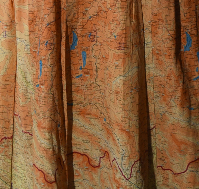 Detail of dress made from silk escape maps. On-loan from Worthing Museum. Photo by Clare Kendall.