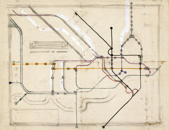 Harry Beck tube map sketch 1931 cr Victoria and Albert Museum 1931