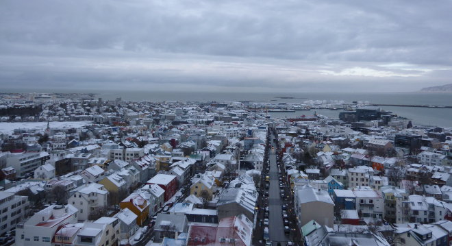 Reykjavik from Hallgrimskirkja church photo by Judy Darley