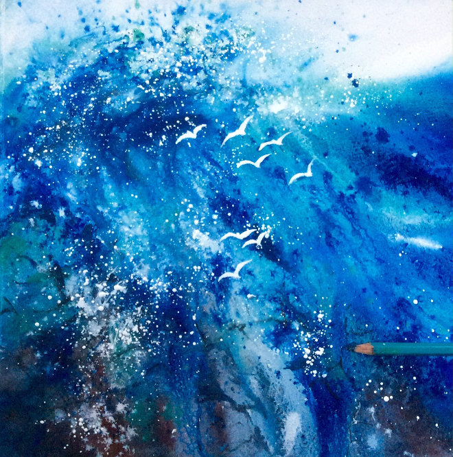 Crashing Wave and Gulls by Jane Betteridge