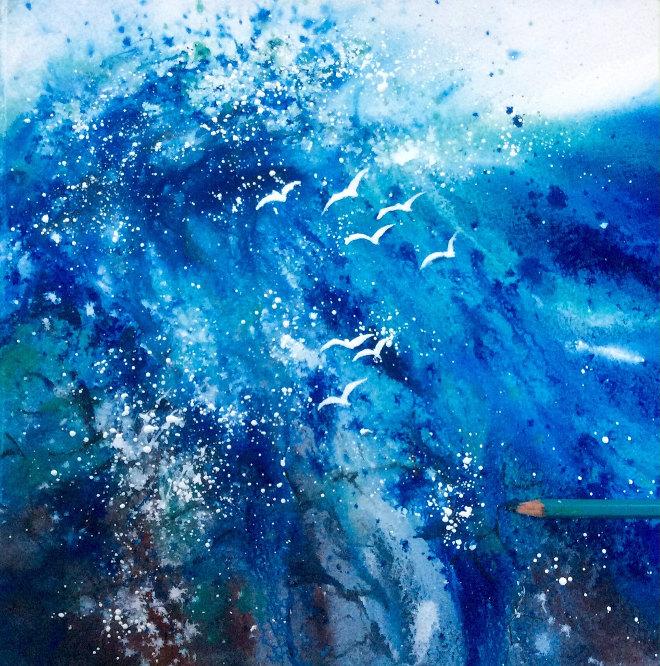 Crashing Wave and Gulls by Jane Betteridge