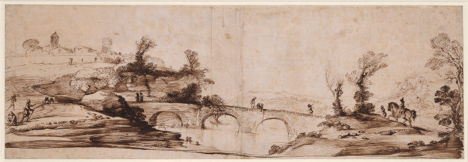 Guercino, Detail from A Landscape with a three-arched bridge over a river, c.1625, Pen and ink (RCIN 902717), Royal Collection Trust © Her Majesty Queen Elizabeth II 2017