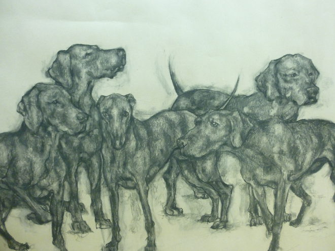 The Hounds by Abigail Reed, Charcoal on paper_£950