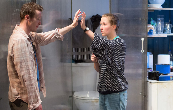 Joseph Quinn and Erin Doherty in Wish List at the Royal Court. Photo by Jonathan Keenan