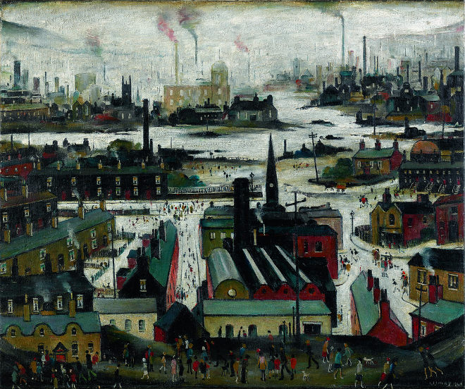 L. S. Lowry, A Manufacturing Town (1922), oil on panel, 43.2 x 53.3 cm. British Council Collection. Photo © Art Image Library LTD. © The Estate of L.S Lowry. All Rights Reserved, DACS 2017
