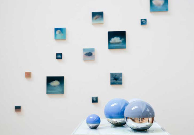 Paintings by Jemma Grundon and orbs by Polly Gould