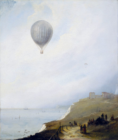 The Balloon over Calais by E. W. Cocks, 1840, oil on canvas, cr Science Museum: Science & Society Picture Library.