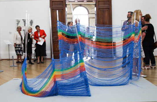 Windbreak made from shredded plastic by Freya Gabie. Image by Alice Hendy
