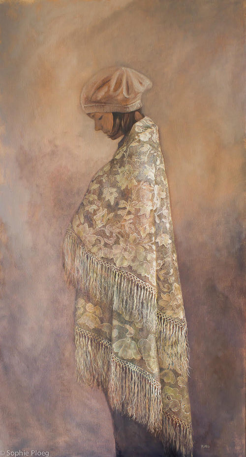 The Shawl, oil on linen by Sophie Ploeg