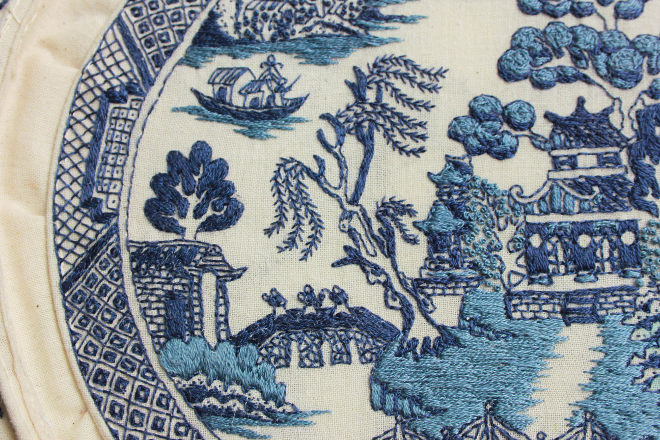 Blue Willow Plate detail stitched by Jessica So Ren Tang
