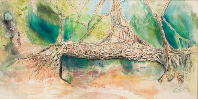 India, Living Root Bridge stitch by Harriet Riddell