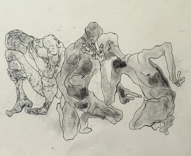 Gossip etching by Helena Park