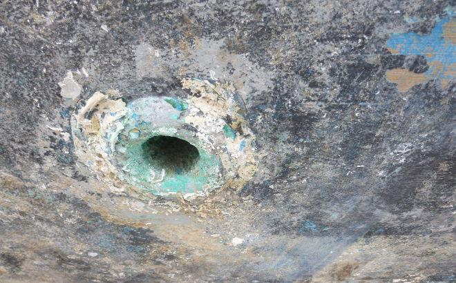 Azores Boat Underside Hole cr Judy Darley