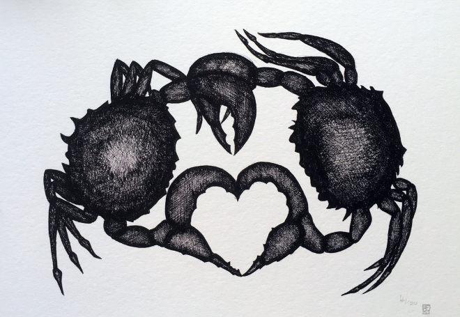 Crab print by Rachel Falber