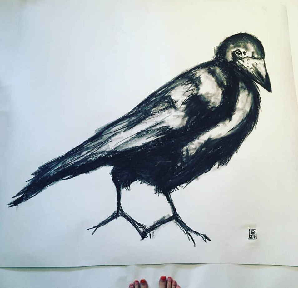 Crow and toes by Rachel Falber