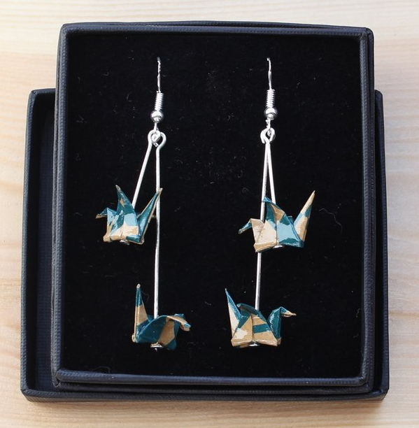Upcycled paper into crane origami earrings-www.phipholle.co.uk