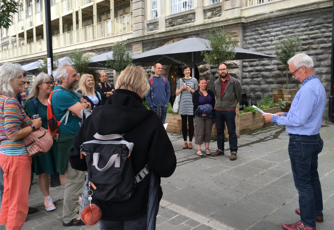 FlashWalk 2018_5 Christopher Ryan reading The Same Place Twice by Cindy George. Pic by Judy Darley
