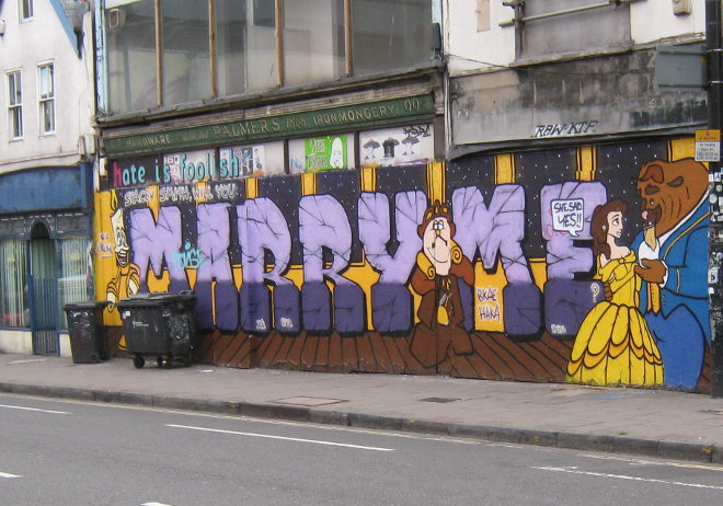 Marry Me street art, Stokes Croft. Photo by Judy Darley