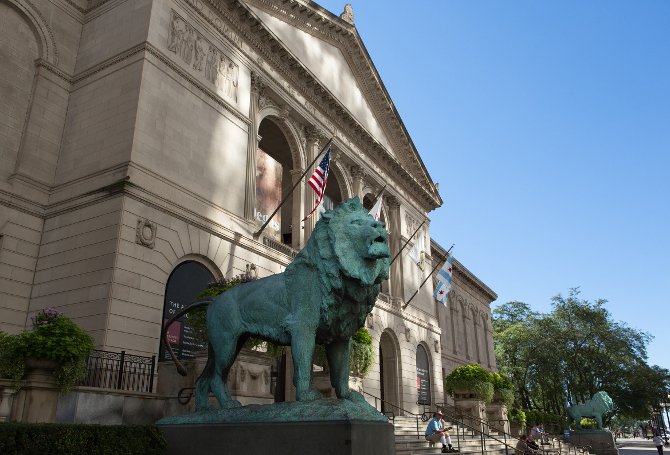 The Art Institute of Chicago, Michigan Avenue Entrance. Courtesy of the Art Institute of Chicago. Edward Kemeys, Lions