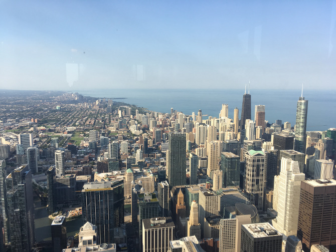 View of the John Hancock Building from the Willis Tower. Photo by Judy Darley