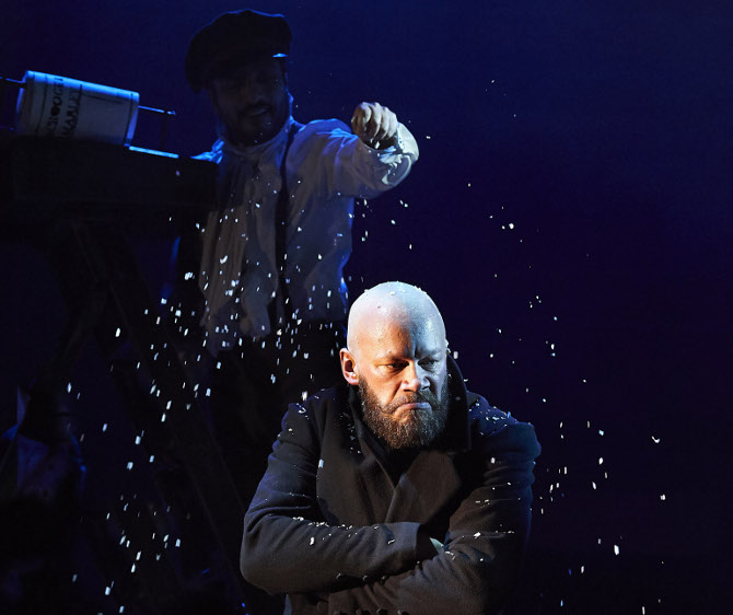 Felix Hayes as Scrooge in A Christmas Carol at Bristol Old Vic, credit Geraint Lewis